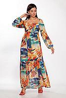 Женское летнее льняное платье LaKona 1380 терракот-синий 44р.