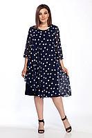 Женское осеннее шифоновое черное большого размера платье FOXY FOX 1741 50р.