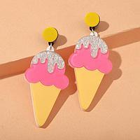 """Серьги пластик """"Вкусняшка"""" мороженка в рожке, цвет жёлто-розовый в серебре"""