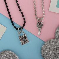 """Кулоны """"Неразлучники"""" замочек и ключ, цвет чёрно-серебряный, 45 см"""