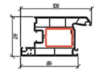 Дверная створка внутр. открывания 106 мм Rossi-60 3-1304