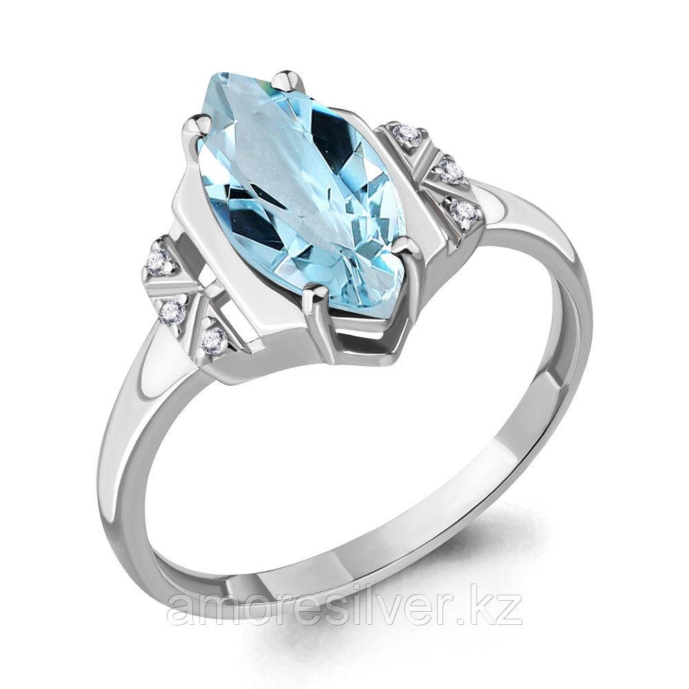 Кольцо AQUAMARIN серебро с родием, топаз лондон блю фианит 6575602А.5 размеры - 18