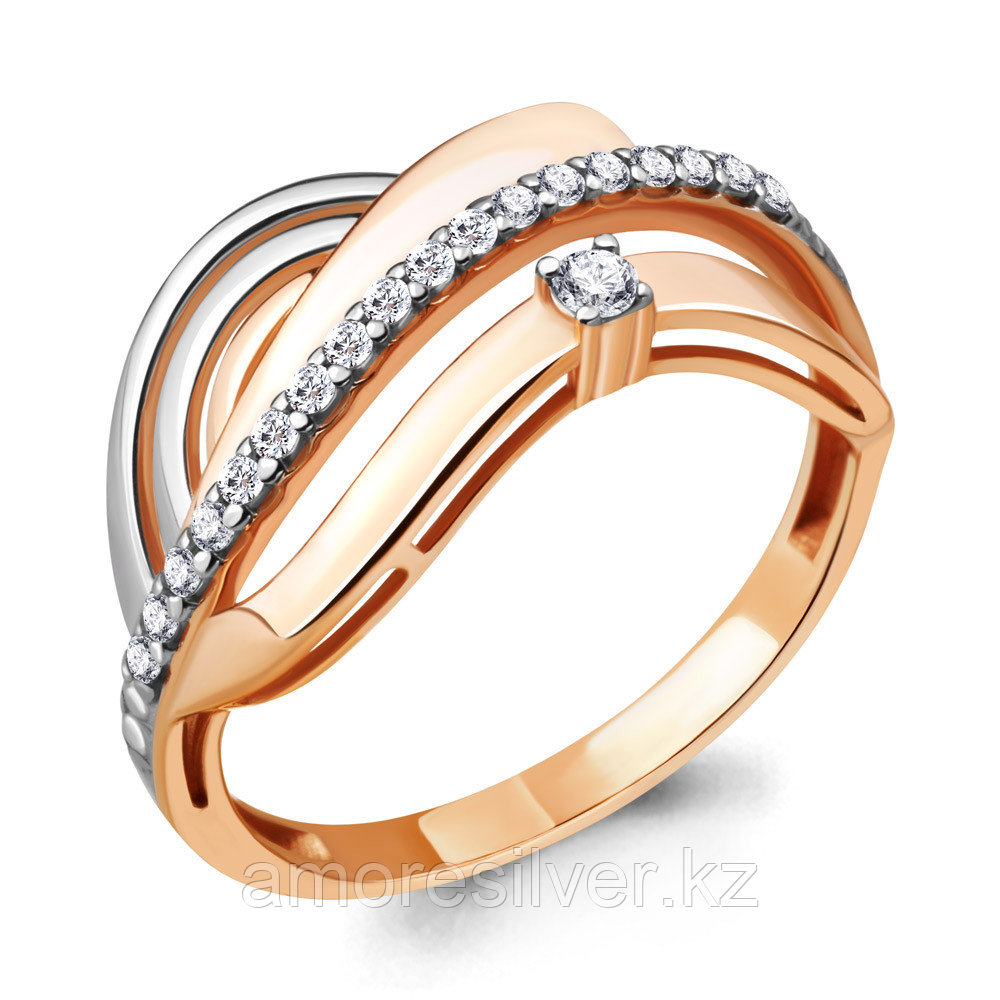 Кольцо AQUAMARIN серебро с позолотой, фианит 68764А.6 размеры - 19