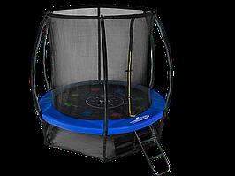 Батут Mzone8FT диаметром 2,44метра с защитной сетью и лестницей Синий