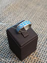 Кольцо обручальное / голубая эмаль / размеры: 16 - 22