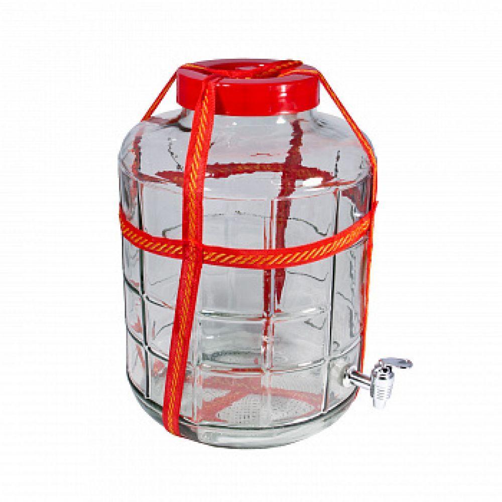 Банка стеклянная 12л с гидрозатвором + кран