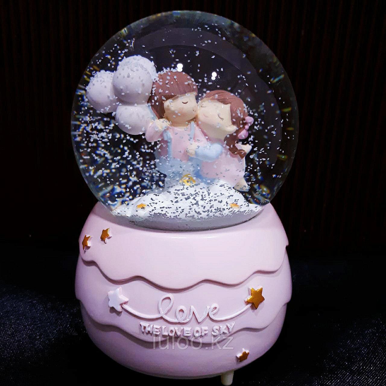"""Музыкальный снежный шар """"Воздушные шары"""", 16см. - фото 1"""
