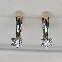 Золотые серьги с бриллиантами 0.60Ct I1/K, EX