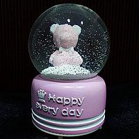 """Музыкальный снежный шар """"Тедди"""", розовый, 16см."""