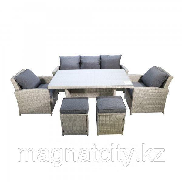 "Комплект мебели ""Борсу"" (Стол+Кресло 2+Диван+Пуфики 2)"