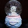"""Музыкальный снежный шар """"Счастливый котик"""", 16см."""