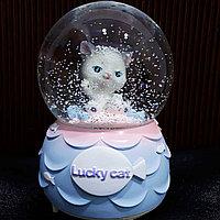 """Музыкальный снежный шар """"Счастливый котик"""", 16см., фото 1"""