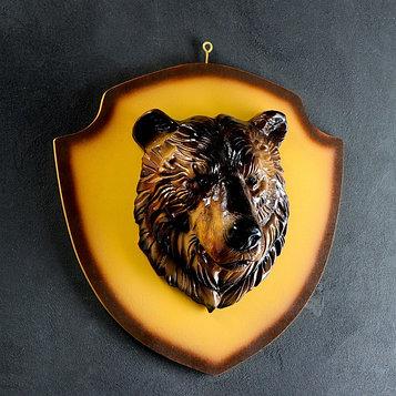 """Подвесной декор """"Голова медведя"""" цветная/щит бежевый 40см"""