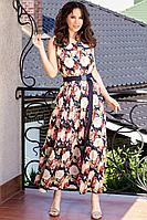 Женское летнее шифоновое большого размера платье Teffi Style L-1566 розы_на_синем 48р.