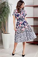 Женское летнее шифоновое большого размера платье Teffi Style L-1570 52р.