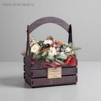 """Кашпо флористическое «Счастья в новом году"""", 15 × 21 × 31.5 см"""