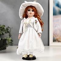 """Кукла коллекционная керамика """"Зоя в белом платье в горошек"""" 30 см"""