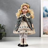 """Кукла коллекционная керамика """"Оля в бежевом платье и зелёном пальто"""" 40 см"""