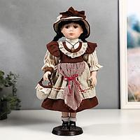 """Кукла коллекционная керамика """"Рита в бордовом платье с передником"""" 40 см"""