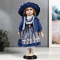 """Кукла коллекционная керамика """"Стася в синем полосатом платье и синей куртке"""" 40 см"""