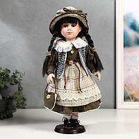 """Кукла коллекционная керамика """"Юля в зелёном платье и серой жилетке"""" 40 см"""