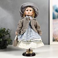 """Кукла коллекционная керамика """"Лиза в голубом кружевном платье и серой курточке"""" 40 см"""