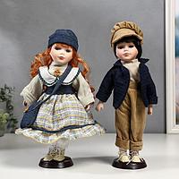 """Кукла коллекционная парочка набор 2 шт """"Злата и Сева в синих нарядах в полосочку"""" 30 см"""