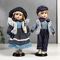 """Кукла коллекционная парочка набор 2 шт """"Алиса и Артём в синих нарядах"""" 30 см"""