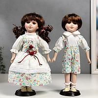 """Кукла коллекционная парочка набор 2 шт """"Стася и Егор в нарядах в цветочек"""" 30 см"""