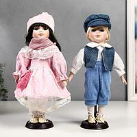 """Кукла коллекционная парочка набор 2 шт """"Полина и Кирилл в розовых нарядах"""" 30 см"""