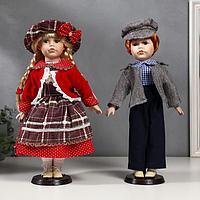 """Кукла коллекционная парочка набор 2 шт """"Лиза и Лёша в нарядах в клеточку"""" 40 см"""