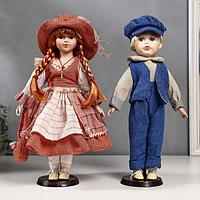 """Кукла коллекционная парочка набор 2 шт """"Катя и Слава в коралловых нарядах"""" 40 см"""