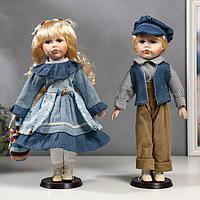 """Кукла коллекционная парочка набор 2 шт """"Вера и Сережа в голубых нарядах"""" 40 см"""