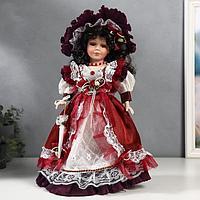 """Кукла коллекционная керамика """"Клара в вишневом платье"""" 40 см"""