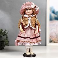 """Кукла коллекционная керамика """"Лизонька в платье в клеточку"""" 40 см"""