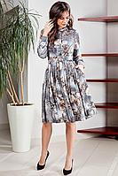 Женское осеннее шифоновое серое большого размера платье Teffi Style L-1538 графит 52р.