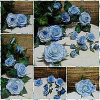 Комплект украшений Цвета неба - брошь (18-20см), заколка, браслет, серьги, колечко из фоамирана