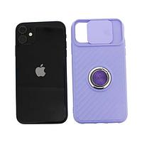 Чехол Apple iPhone 11 силиконовый, сиреневый защита для камеры