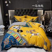Комплект постельного белья двуспальный двухцветный HERMES сатин LUX