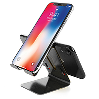 Подставка для телефонов и планшетов настольная алюминиевая 2 в 1 черная