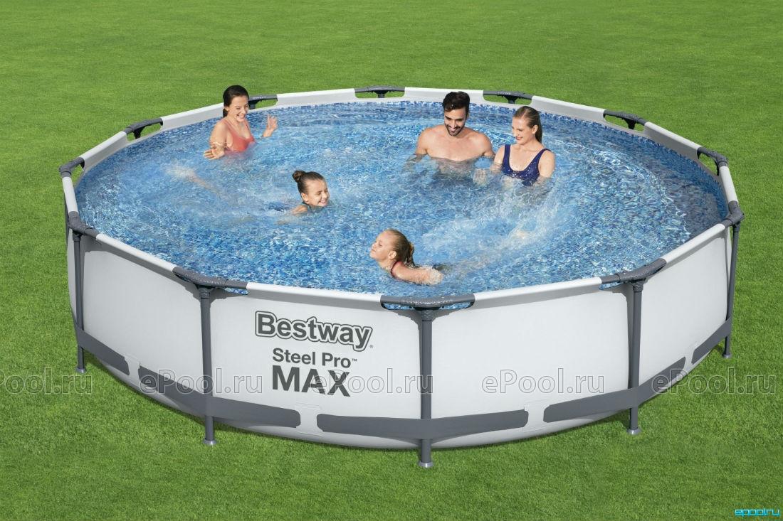 Семейный Бассейн каркасный детский INTEX и BESTWAY 366х76 см с фильтр-насосом / KASPI RED