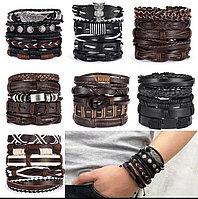 Мужские кожаные плетеные браслеты