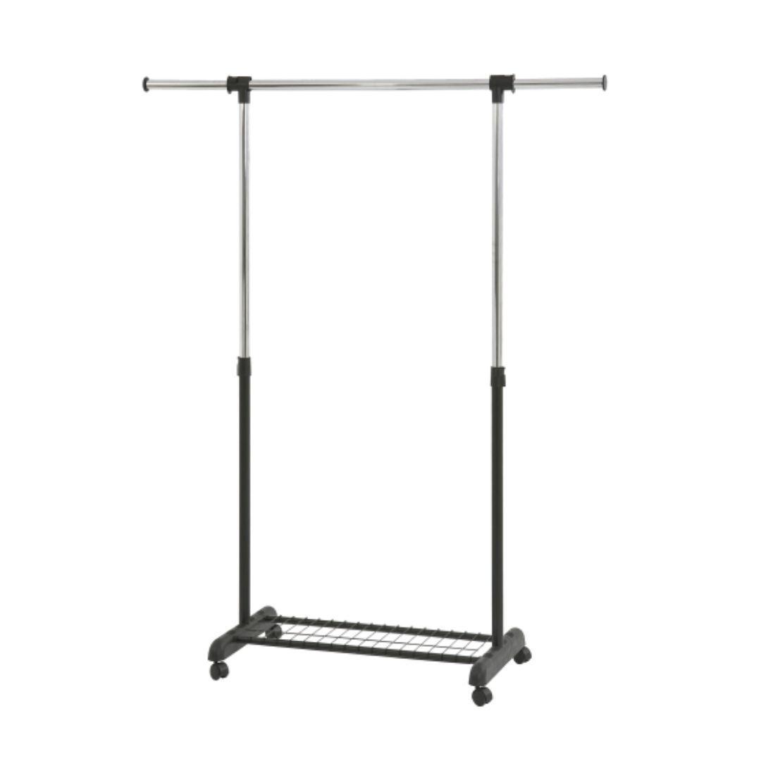 Вешалка для одежды гардеробная EP8607R черный цвет одинарная раздвижная