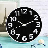 Настенные часы диаметр 30 с черным циферблатом XC 612 3 белые