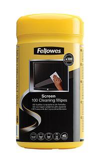 Салфетки для экранов Fellowes®, дерматологически безопасные, 100 шт. в тубе, UK