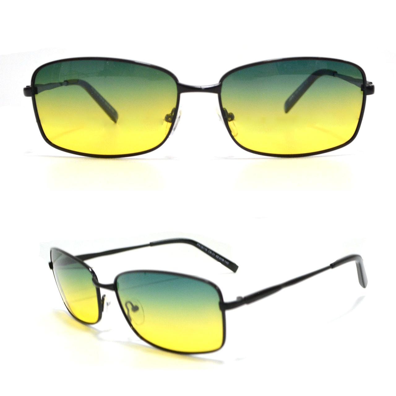 Солнцезащитные поляризационные очки ПОЛАРОИД UV400 тонкая оправа желто зеленые стекла АВТО PX16116 - фото 1