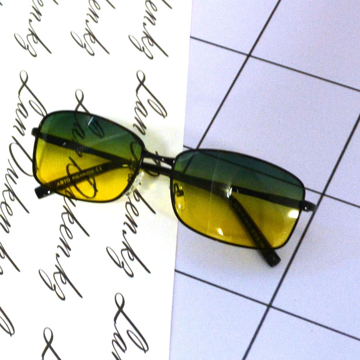 Солнцезащитные поляризационные очки ПОЛАРОИД UV400 тонкая оправа желто зеленые стекла АВТО PX16116 - фото 6