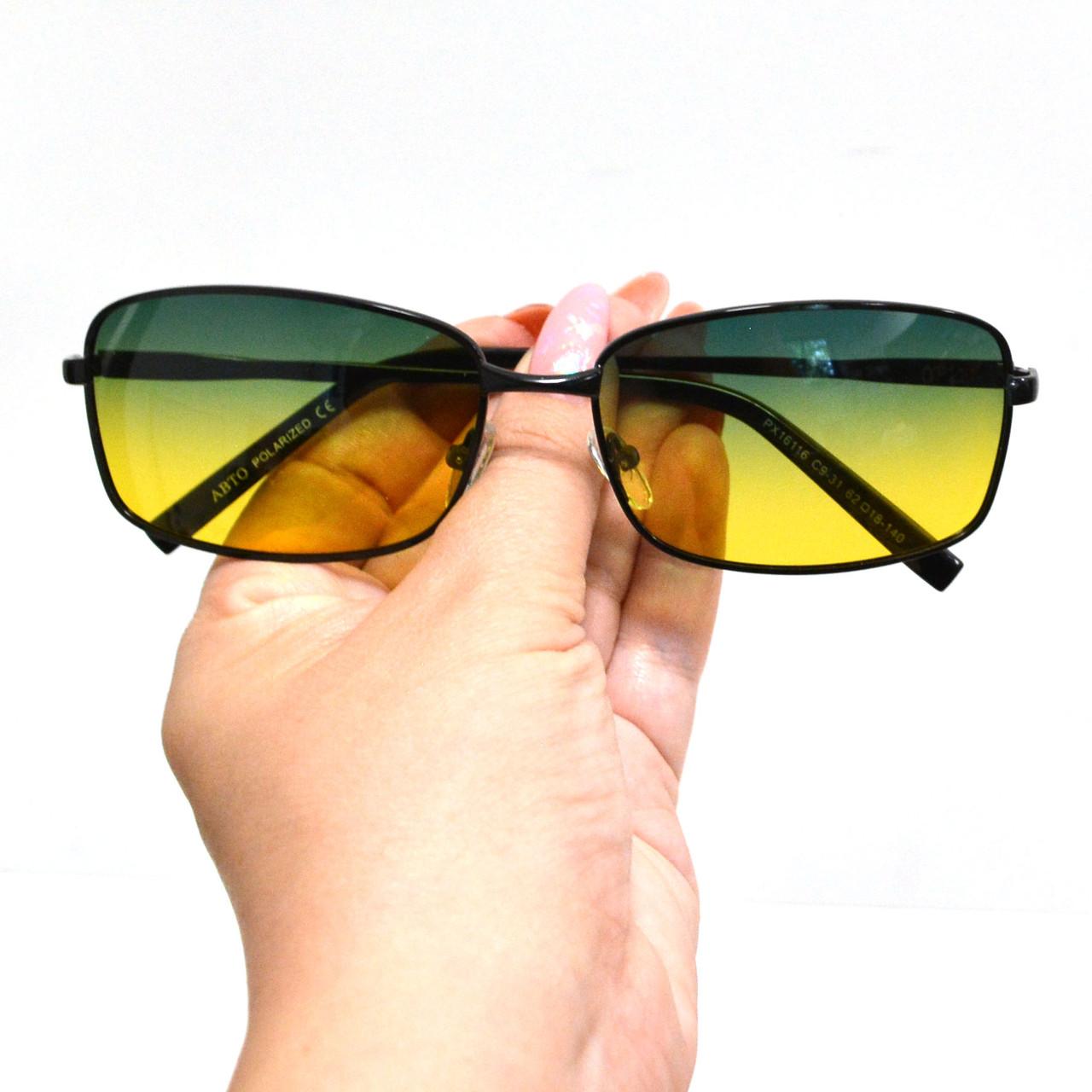 Солнцезащитные поляризационные очки ПОЛАРОИД UV400 тонкая оправа желто зеленые стекла АВТО PX16116 - фото 10
