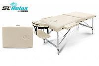 Массажный стол SL Relax Aluminium. Складной. Чёрный/Бежевый