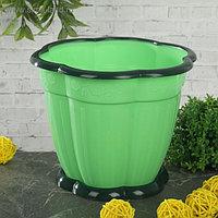 Горшок с поддоном «Восторг», 1,5 л, цвет зелёный